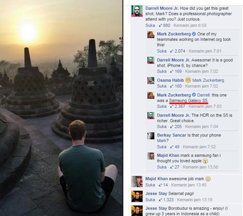 Foto Mark Zuckerberg di Borobudur Cuma Pakai Samsung Galaxy S5